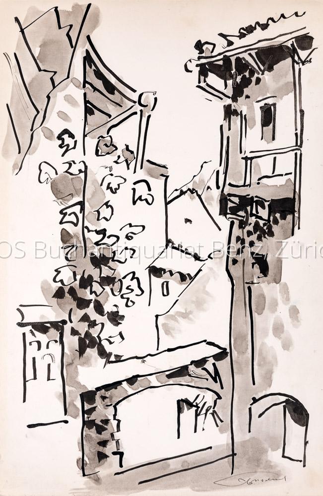 Moreau, Clement (1903–1988): - Häuser in einem Tessiner Ort.