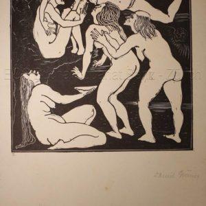 Greiner, Daniel  (1872-1943): - Hexendarstellungen, Eros, Liebesspiele.
