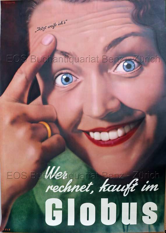 Rutz, Viktor (1913-1955): - Globus. Wer rechnet, kauft im Globus.